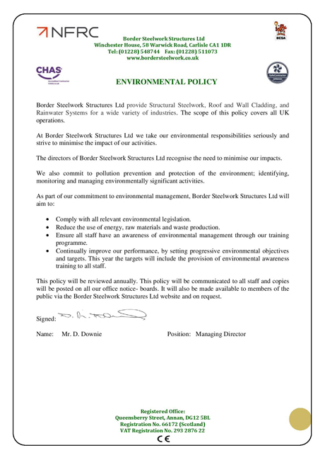 Health & Safety and Environmental Policies
